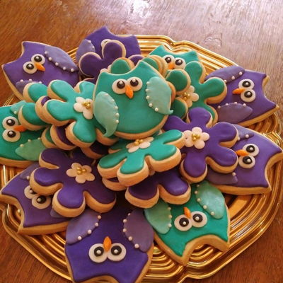 Owl And Flower Cookies