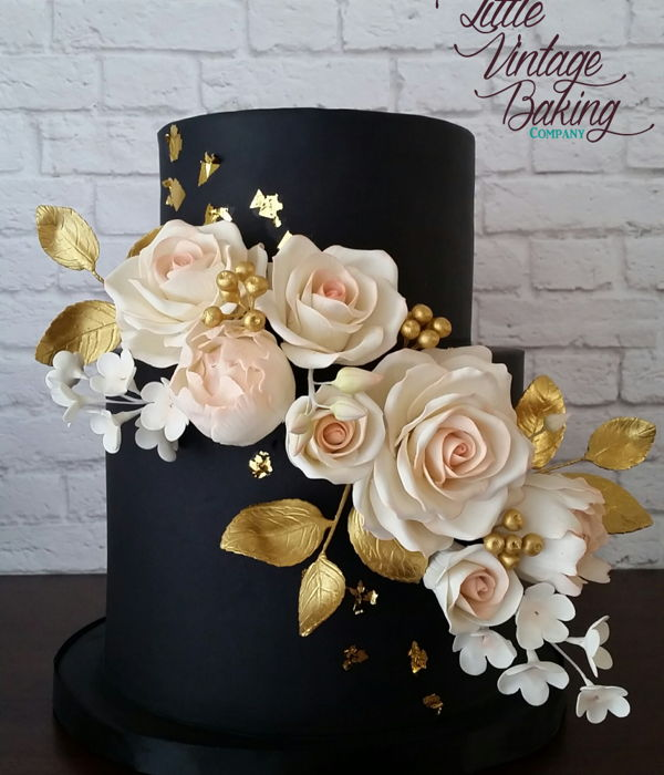 Black, Gold And Blush Floral Cake