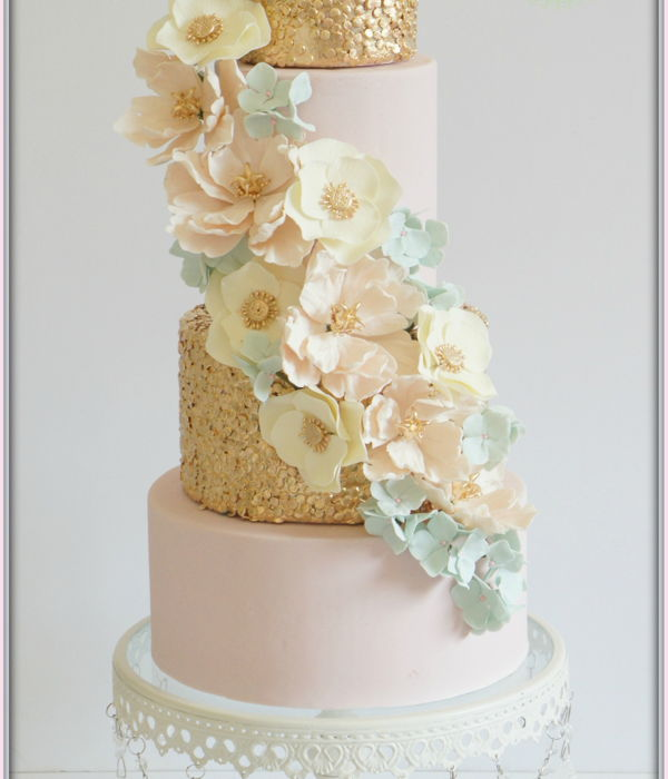 Cascading Floral Sequin Cake