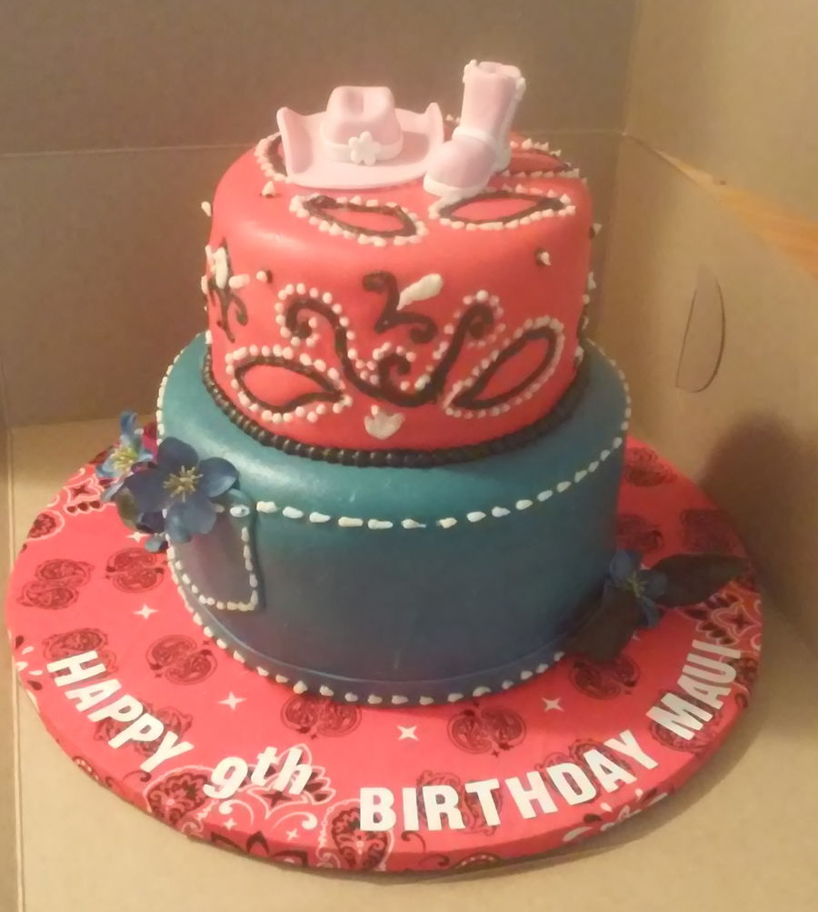 2 Tier Red Bandana And Blue Jeans Themed Cowgirl Cake