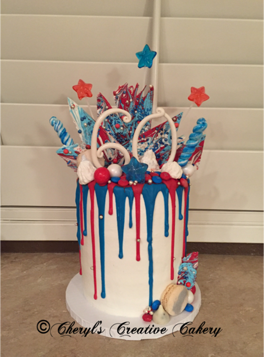 Birthday 4Th Of July Drip Cake CakeCentralcom
