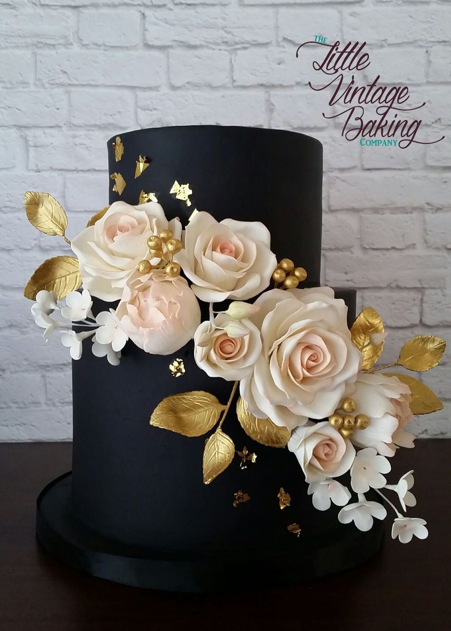 Black, Gold And Blush Floral Cake on Cake Central