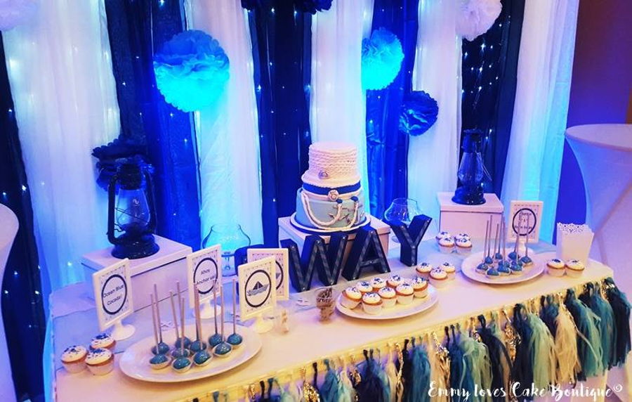 Blue Silver And White Sweet Table Cakecentral Com
