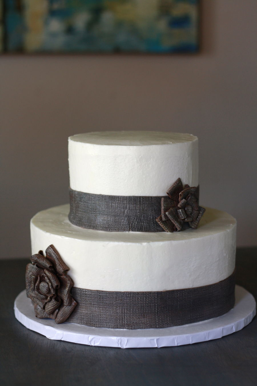 Burlap Ribbon Wedding Cake Cakecentral Com