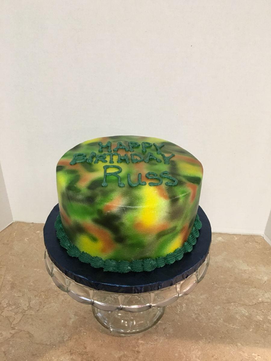 Pleasant Camouflage Birthday Cake Cakecentral Com Funny Birthday Cards Online Elaedamsfinfo