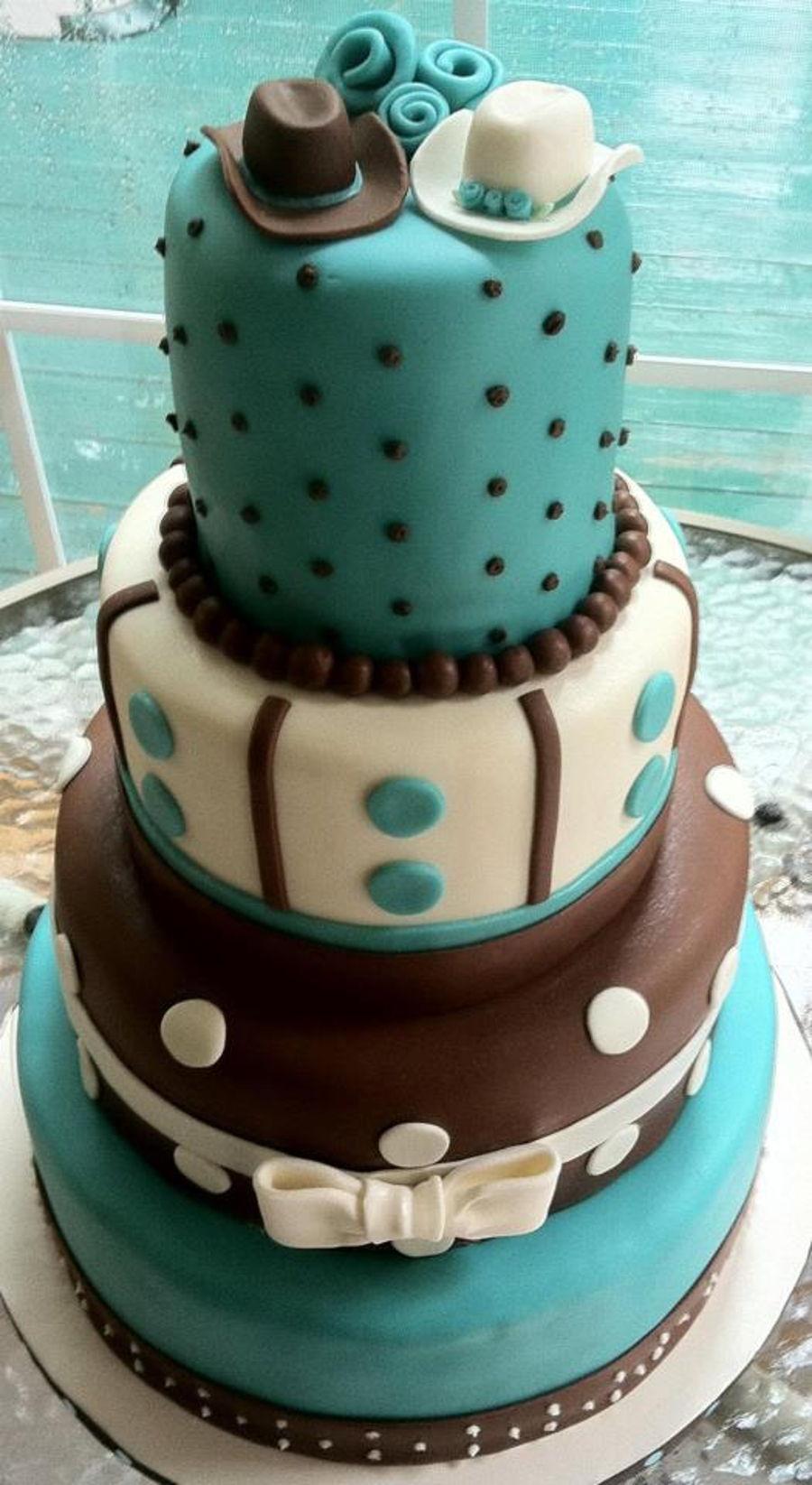 Cowboy Wedding Cake - Teal & Chocolate Brown - CakeCentral.com