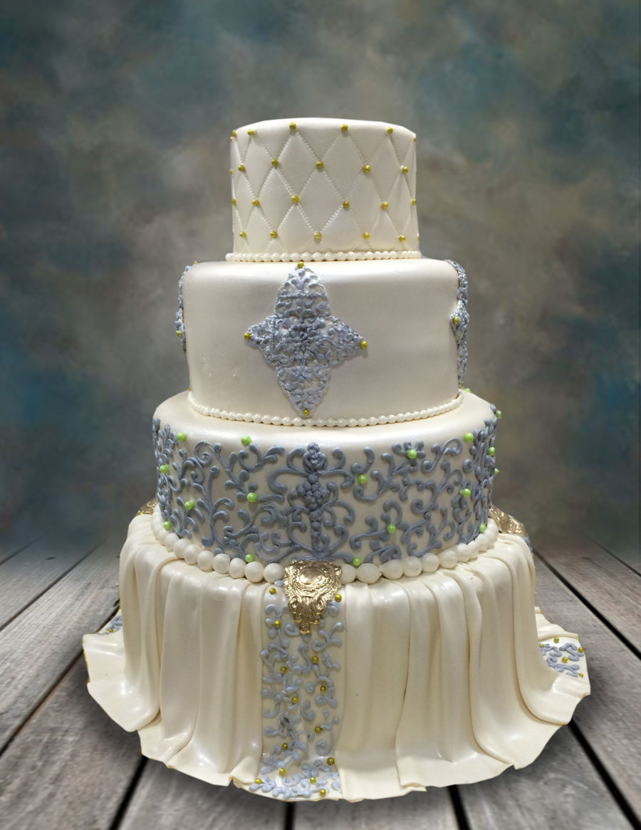 Elegantly Draped Wedding Cake on Cake Central