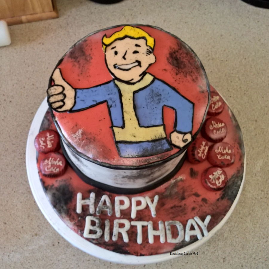Fallout Vault Boy Cake on Cake Central