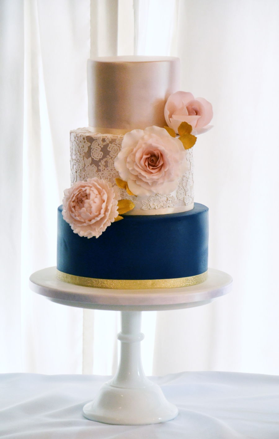 Modern Blue And Gold Lace Wedding Cake Cakecentral Com