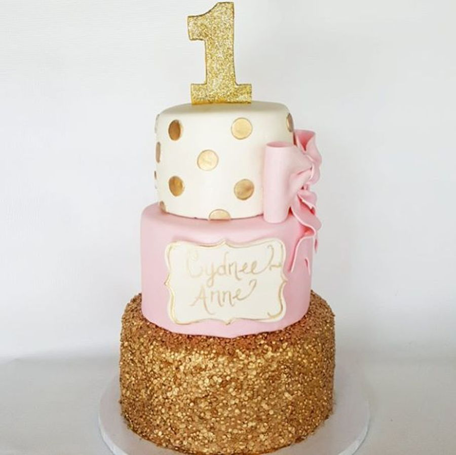 Pink And Gold First Birthday Cake Fondant