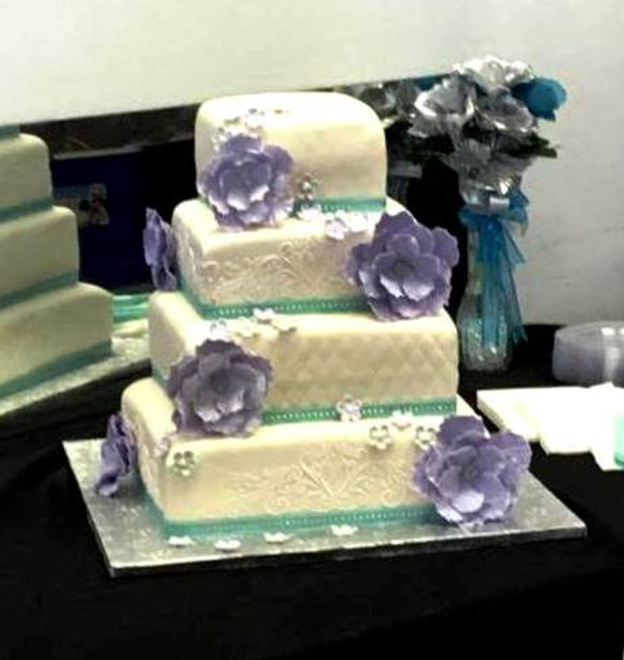teal purple wedding cakes purple and teal wedding cake cakecentral 20782