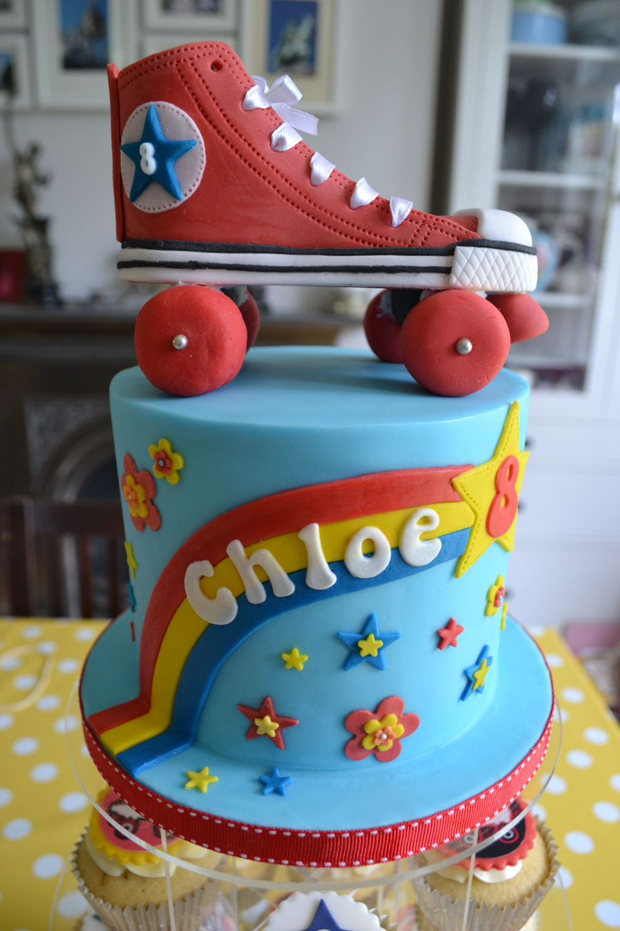 roller skate cake roller skating cake and cupcakes cakecentral 7105