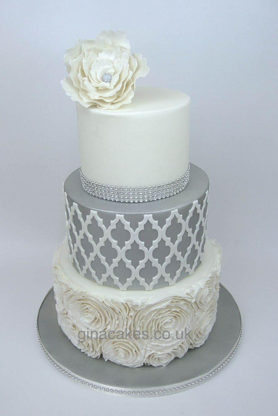 Silver & White Wedding Cake With Contrasting Onlay And Diamantes ...