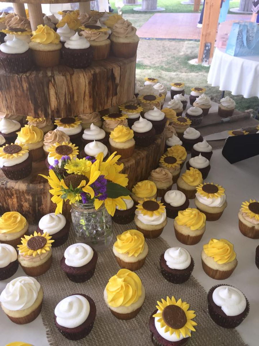 Sunflower Frosted Wedding Cakes