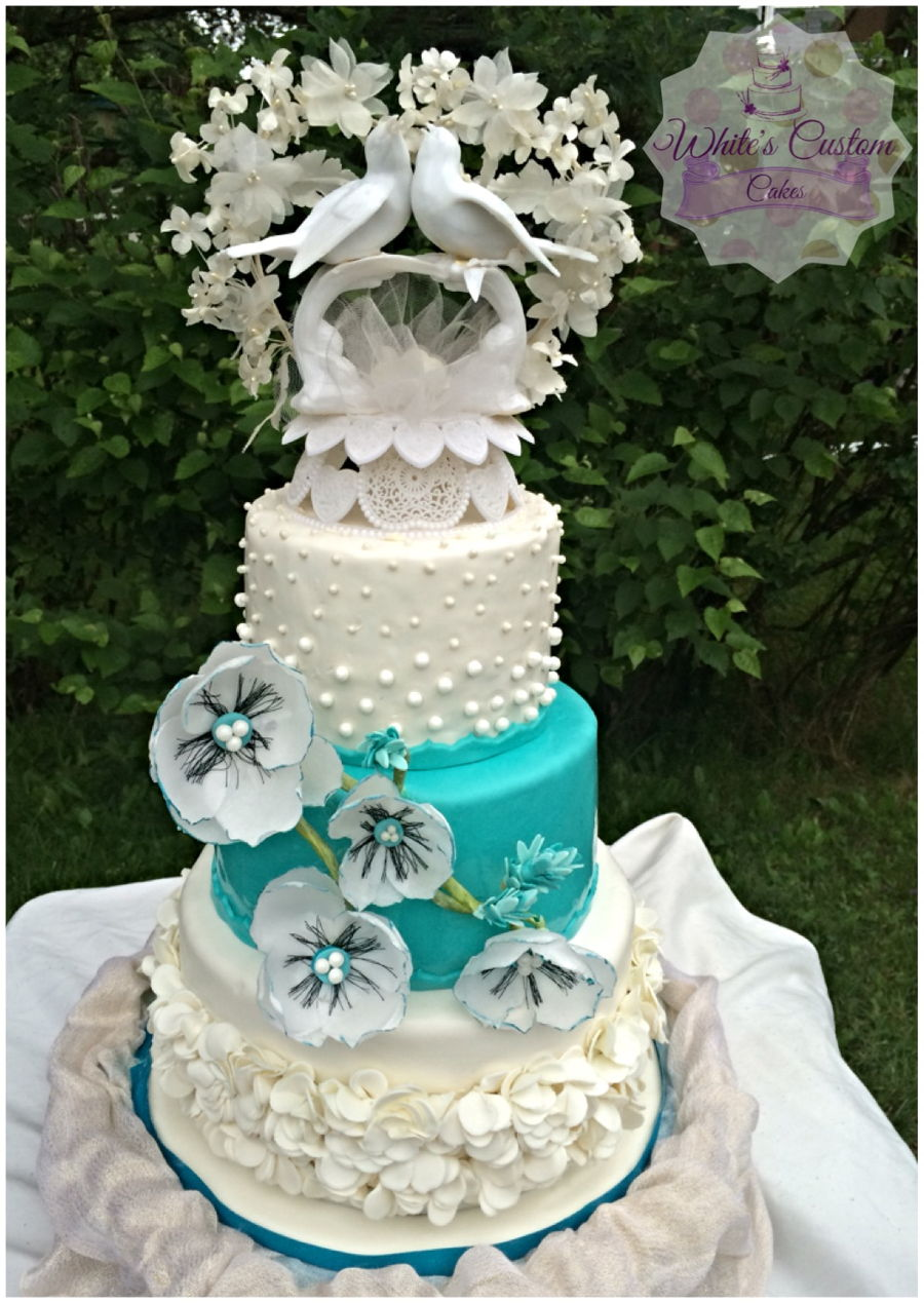 wedding cakes teal and white teal and white wedding cake cakecentral 25696
