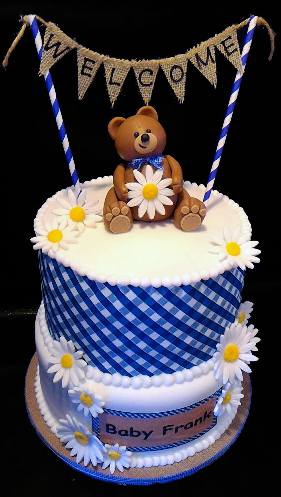 Teddy Bear Gingham Baby Shower Cake Cakecentral Com
