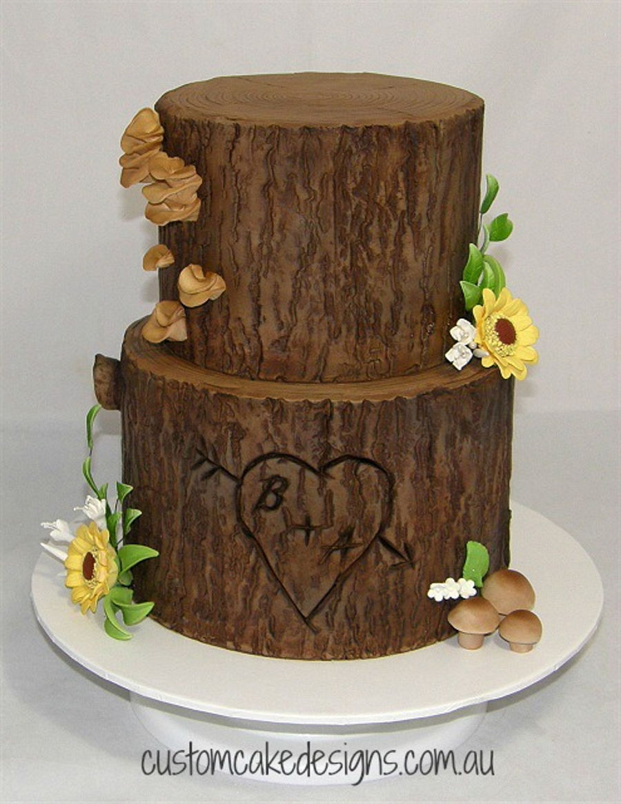 Tree Stump Wedding Cake - CakeCentral.com
