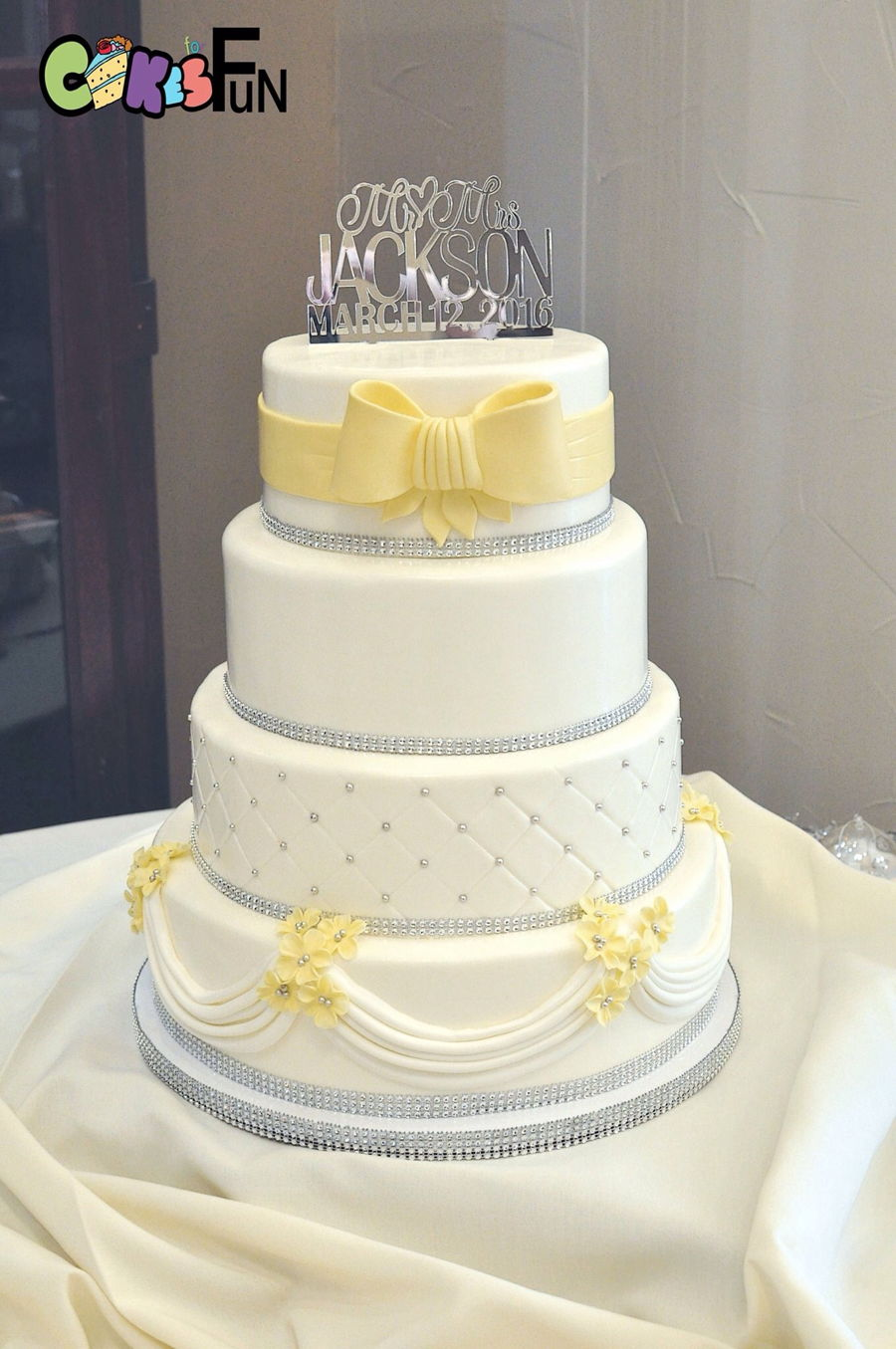 White And Yellow Wedding Cake Cakecentral Com