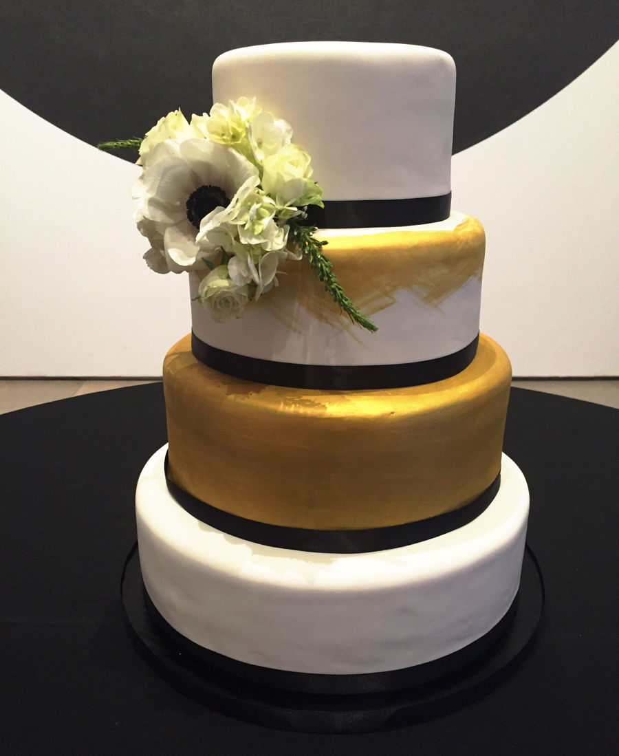 White, Black, And Gold Wedding Cake - CakeCentral.com