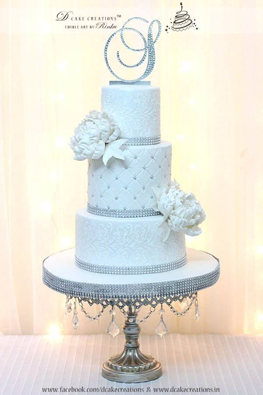 white wedding cake with gold bling white bling wedding cake cakecentral 27410