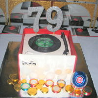 79Th Birthday This is not my design, but I had fun duplicating this cake for a friend's father who loves to go to the casino, The Cubs and music!...