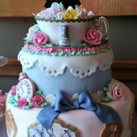 Alice In Wonderland Bridal Shower Cake   A mix of motifs from the ever-popular theme.