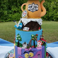 Alice In Wonderland Merry Un-Birthday Cake 5-tier Alice in Wonderland un-birthday cake for my friends 5 year old daughter. I may have gone completely overboard but what is more...