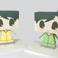 Anime Characters Ami and Mami Japanese anime characters to look like cardboard