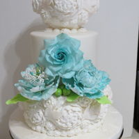 Aqua And Lime Green Wedding This is a wedding cake I made this weekend for a lovely couple .The humidity was at 100% on the day I was decorating it. Oh my nerves!....