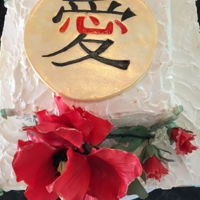 "Asian Theme Engagement Cake 2 tiered BC cake with hand made gum paste flower and ""Love"" symbol in Chinese character."