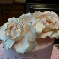 Babys Girls 1St Birthday Gold & Pink, sugar flowers and rosettes