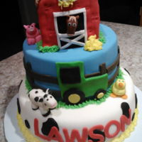 Barn And Farm Animal Fondant Cake Fondant barn cake with fondant animals.