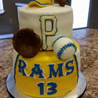 Baseball Birthday   Made for my nephew's 18th birthday. This is his high school team! Everything is made from fondant & gum paste.