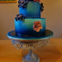 Blue Airbrushed Birthday Cake.   www.facebook.com/TheCakeNook