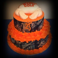 Camouflage Baby Shower french vanilla cake, white as snow buttercream, MMF, and edible images for the camo