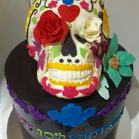 Chocolate Day Of The Dead This cake is decorated in only chocolate and all of the decorations are made from chocolate. The skull and flowers are all made from...