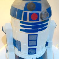 Chocolate R2D2 This cake is decorated in only chocolate and all of the decorations are made from chocolate.