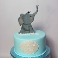 Christening Cake   its a cake for a boy´s christening with an elephant from ximena cutters