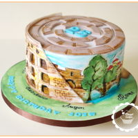 Colosseum Cake-Rome Rome themed cake I made for Josh Birthday Party.Moist toffee sponge with Caramel buttercream and dulce de leche.I was inspired by picture...