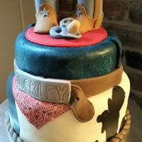 Cowboy Baby Shower Cake   Fondant western themed baby shower cake