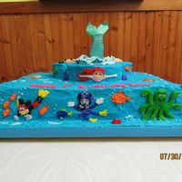 "Disney Characters Cake For My Great-Granddaughter's First Birthday 2016 Bottom rectangle is vanilla cake. Top rounds used for ""Hidden Mickey"" are chocolate orange cake. All decorated with vanilla..."