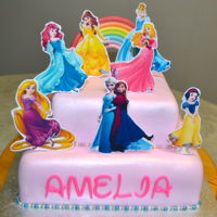 Disney Princess Cake Choc Vanilla Cake with Fondant Accents and Edible Images