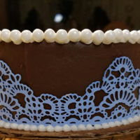 Edible Lace Red velvet chocolate ganache decorated with an edible lace