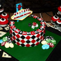 Fabulous 50's Las Vegas Party Fabulous 50's Vegas party cake with edible personalised Vagas sign and fondant casino chips and dice!