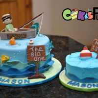 Fishing For First Birthday All decorations made with marshmallow fondant