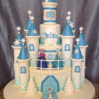 Frozen Castle Cake Inspired by the movie Frozen, this three tier castle cake with pulled sugar icicles makes a perfect party centerpiece!