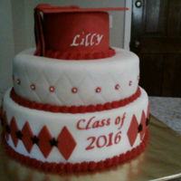 Graduation Cake Fondant graduation cake, Red and Black.