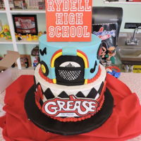 "Grease The Musical This is another cake I made for the Sooner Theatre in Norman, Oklahoma. We celebrated this iconic musical with a two tier cake 10"" and..."