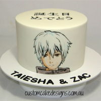 Handpainted Anime Manga Art Cake This cake was made as a combined birthday cake for huge Anime fans :) The Manga character Tokyo ghoul was handpainted on the front of the...