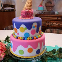 Ice Cream Birthday   Fun cake with sprinkles and ganache. Made for my niece's 1st birthday.